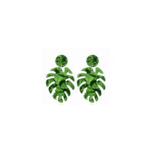 Boucles d'oreilles feuilles vertes